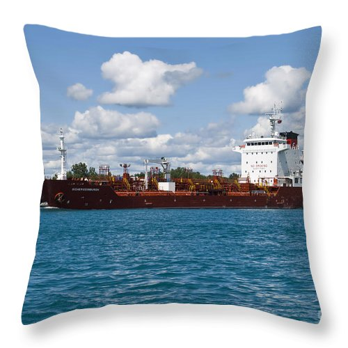Transportation Throw Pillow featuring the photograph Freighter by Thomas Woolworth