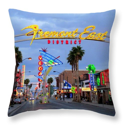 Vegas Throw Pillow featuring the photograph Fremont East District by Randall Weidner