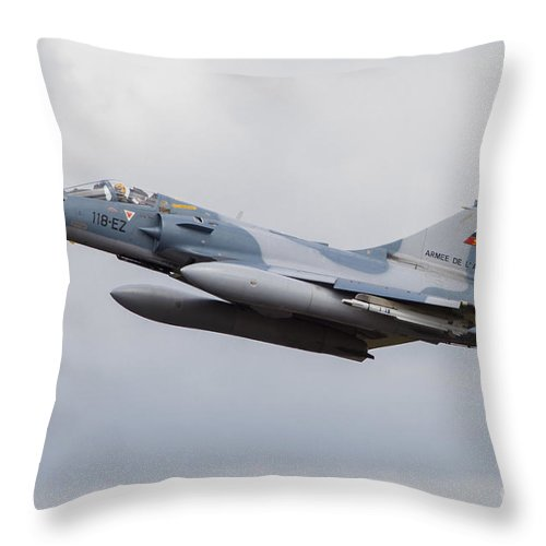 Germany Throw Pillow featuring the photograph French Air Force Mirage 2000c Fighter by Timm Ziegenthaler