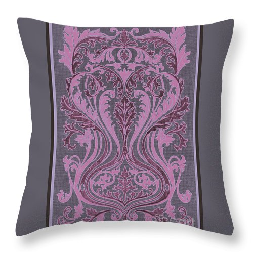 Fleur-de-lis Or Fleur-de-lys French Rosemale Rosemaling Graphic Scroll Design Pattern Design Islamic English Country Morocco German Mirror Gothic Goth Ornate Unfurling Leaves Florettes Flower Antique Patterns Fabric Motif Art Nouveau Heraldry Coat Of Arms Brocade Purple Burgundy Mauve Lavender Grape Taupe Pink Throw Pillow featuring the painting French Brocade Fleur De Lis. Mauve And Burgundy. by Pierpont Bay Archives