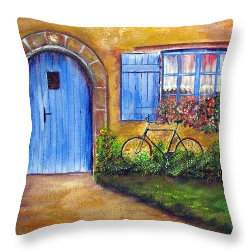 French Throw Pillow featuring the painting French Cottage by Loretta Luglio