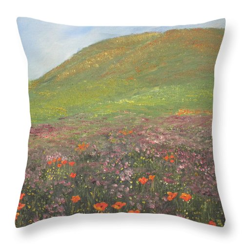 Landscape Throw Pillow featuring the painting French Countryside by Barbara McDevitt