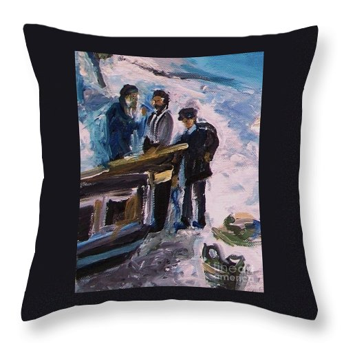 Floral Throw Pillow featuring the painting French Fishermen At Beach At Sainte Adresse by Eric Schiabor