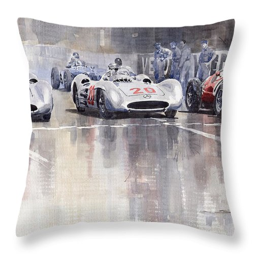 Watercolour Throw Pillow featuring the painting French GP 1954 MB W 196 Meserati 250 F by Yuriy Shevchuk