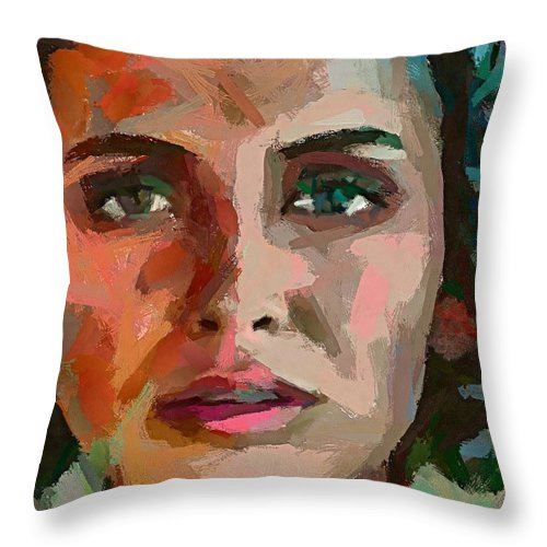 Portrait Throw Pillow featuring the painting French Gypsy Girl by Dragica Micki Fortuna