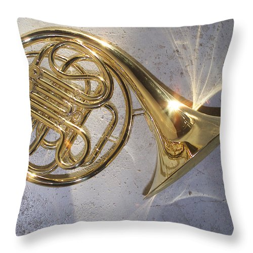 French Horn Throw Pillow featuring the photograph French Horn Iv by Jon Neidert
