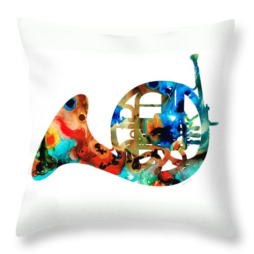 French Horn Throw Pillow featuring the painting French Horn - Colorful Music By Sharon Cummings by Sharon Cummings