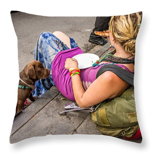 French Quarter Throw Pillow featuring the photograph French Quarter - Pizza Puppy by Steve Harrington