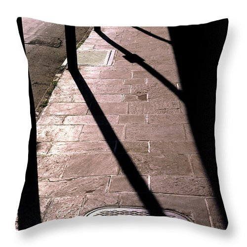 French Quarter Throw Pillow featuring the photograph French Quarter Sidewalk Shadows New Orleans by Mike Nellums