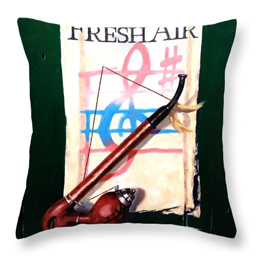 Still Life Throw Pillow featuring the painting Fresh Air by Jim Gola