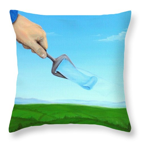 Hand God Sky Surrealism Surreel Clouds Air Green Landscapes Sehstedt I Phone Cases I Phone Cases Throw Pillow featuring the painting Fresh Air by Michel Sehstedt