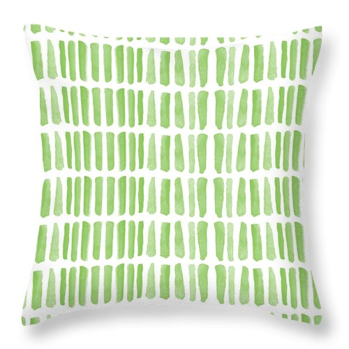 Grass Throw Pillow featuring the painting Fresh Grass- Abstract Pattern Painting by Linda Woods