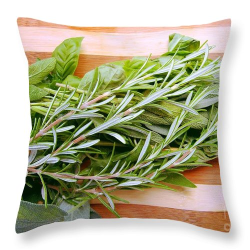 Rosemary Throw Pillow featuring the photograph Fresh Herbs by Nina Ficur Feenan