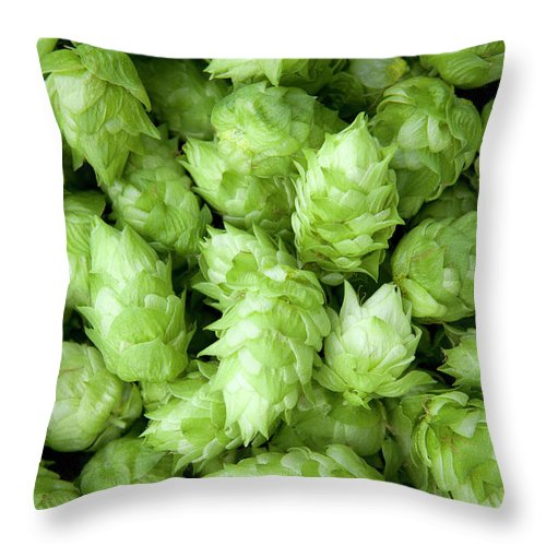 Alcohol Throw Pillow featuring the photograph Fresh Hops by Licreate