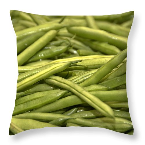 Throw Pillow featuring the photograph Fresh Picked Beans by Cheryl Baxter