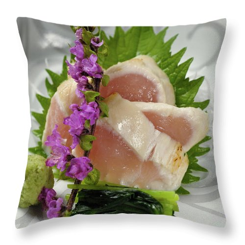Japanese Food Throw Pillow featuring the photograph Fresh Slices Of The Bird Of by Ryouchin