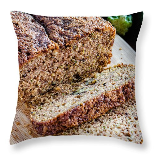 Agave Nectar Throw Pillow featuring the photograph Fresh Zucchini Bread by Teri Virbickis