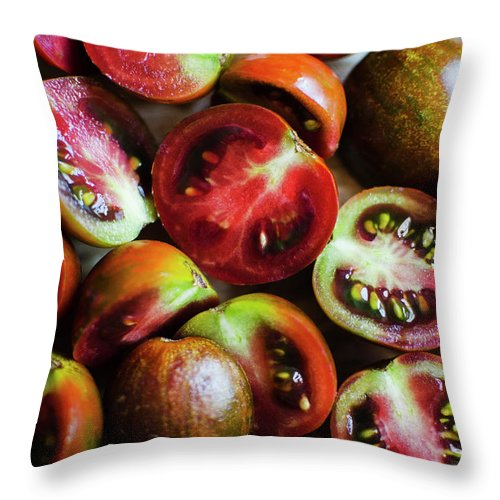 Tranquility Throw Pillow featuring the photograph Freshly Cut Tomatoes by Jamie Grill