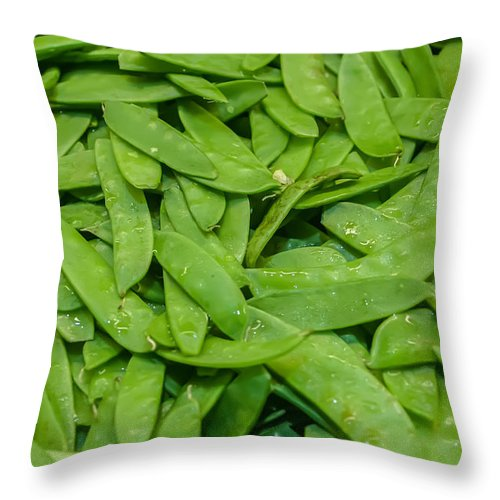 Agriculture Throw Pillow featuring the photograph Freshly Harvested Peas On Display At The Farmers Market by Alex Grichenko