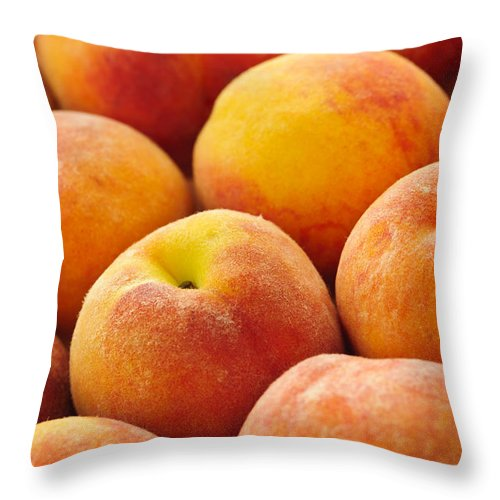 Peaches Throw Pillow featuring the photograph Freshness Of Peaches by Elena Elisseeva