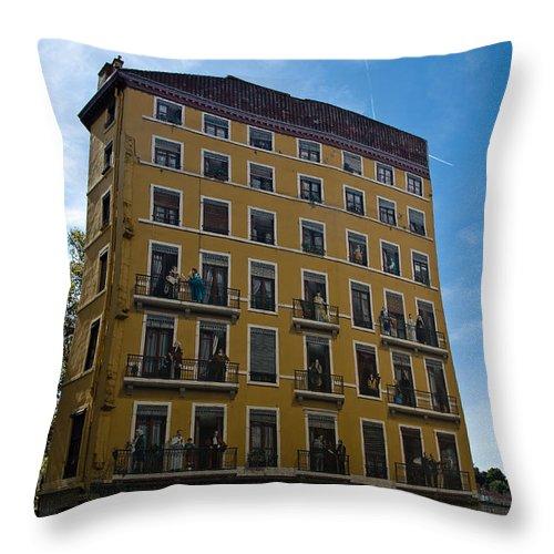 Europe Throw Pillow featuring the photograph Fresque In Lyon by Oleg Koryagin