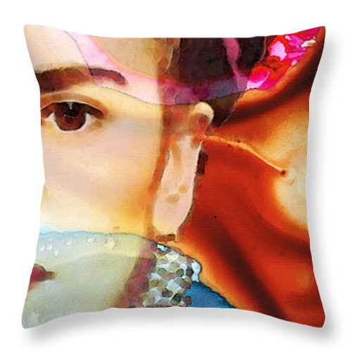 Frida Kahlo Throw Pillow featuring the painting Frida Kahlo Art - Seeing Color by Sharon Cummings