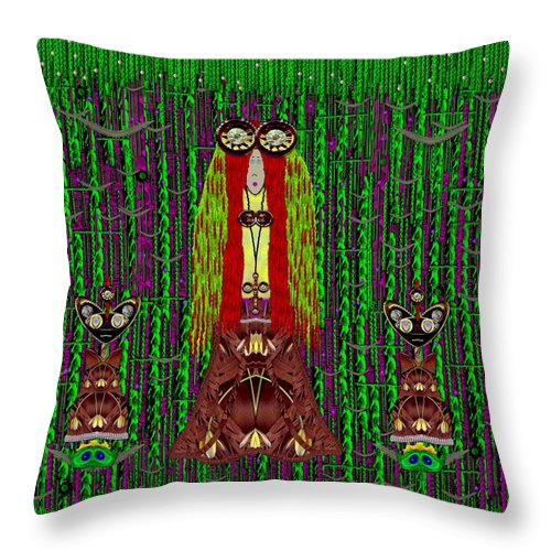 Forest Throw Pillow featuring the mixed media Frida Kahlo Have Arrived With Friends To The Fantasy Forest by Pepita Selles