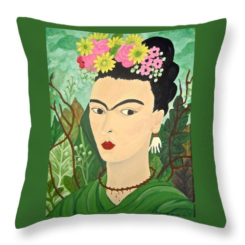 Frida Kahlo Throw Pillow featuring the painting Frida With Flowers by Stephanie Moore