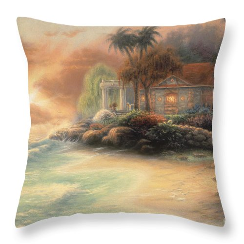 Tropical Throw Pillow featuring the painting Friday Evening Summer by Chuck Pinson