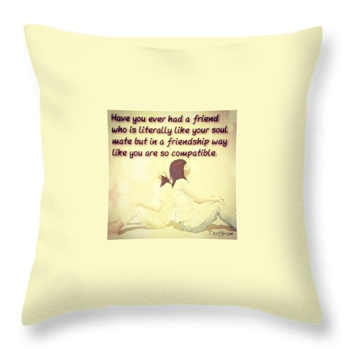 Cute Throw Pillow featuring the photograph Soulmates in Friendship by Meg McG