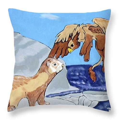 Ferret Throw Pillow featuring the painting Friend Or Foe by Brian Dearth