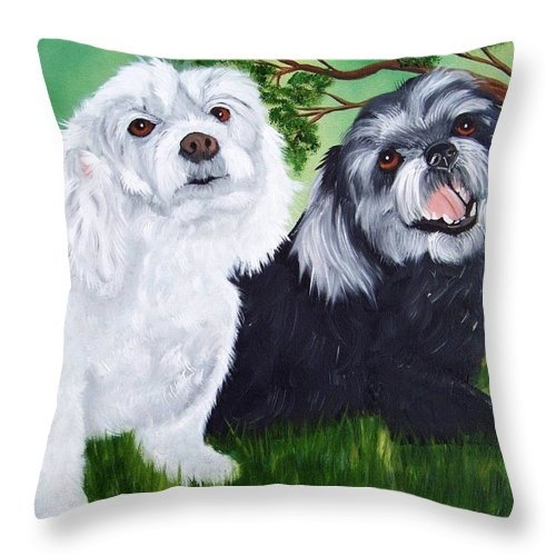 Dog Throw Pillow featuring the painting Friends by Debbie LaFrance