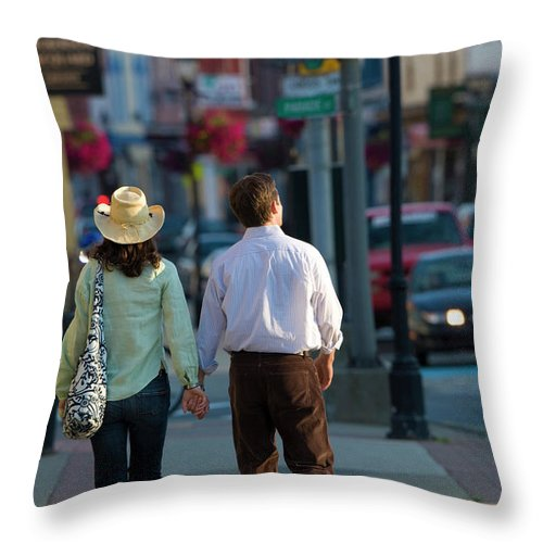 30-35 Years Old Throw Pillow featuring the photograph Friends Explore Downtown Yarmouth Nova by David McLain