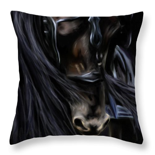Horses Throw Pillow featuring the painting Friesian Spirit by Michelle Wrighton