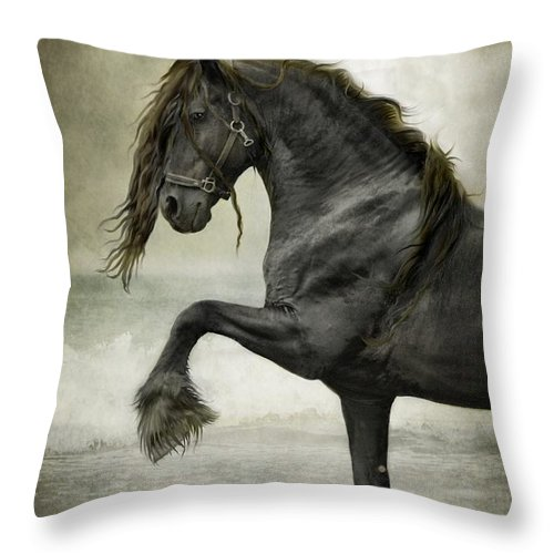 Friesian Throw Pillow featuring the digital art Friesian Surf by Fran J Scott