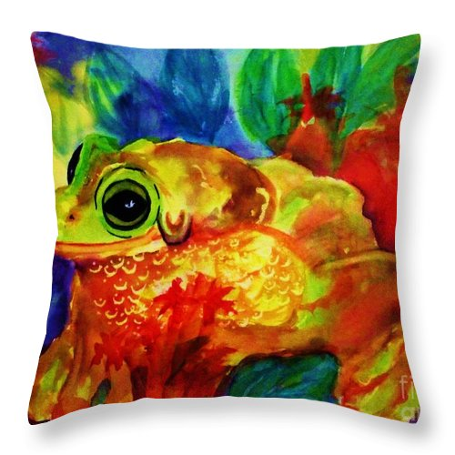 Tree Frog Throw Pillow featuring the painting Frog - Psychedelic Tropical Tree Frog by Ellen Levinson
