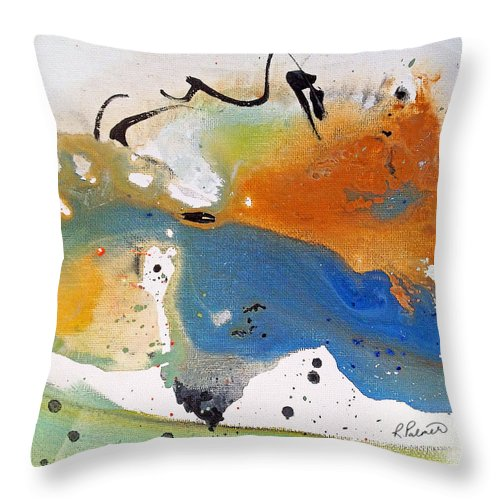 Abstract Throw Pillow featuring the painting Frolic by Ruth Palmer