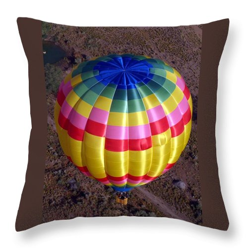Hot Air Balloon Throw Pillow featuring the photograph From Above by Mary Rogers
