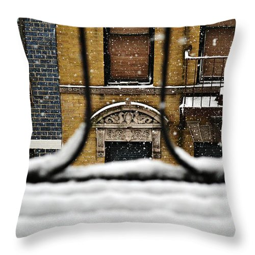 Winter Throw Pillow featuring the photograph From My Fire Escape - Arches In The Snow by Miriam Danar