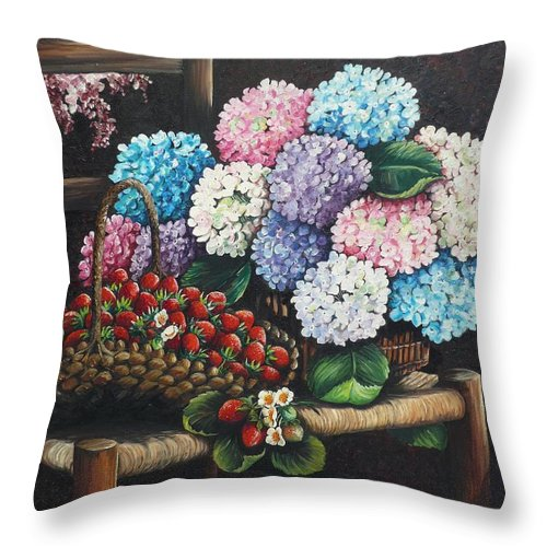 Hydrangea Paintings Floral Paintings Botanical Paintings Flower Paintings Blooms Hydrangeas Strawberries Paintings Red Paintings Basket Paintings Pink Paintings Garden Paintings  Blue Paintings  Greeting Card Paintings Canvas Paintings Poster Print Paintings  Throw Pillow featuring the painting From My Garden by Karin Dawn Kelshall- Best