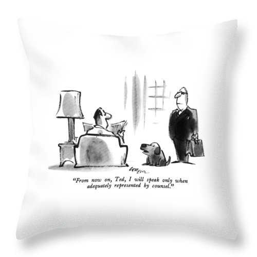 Dog Throw Pillow featuring the drawing From Now by Lee Lorenz