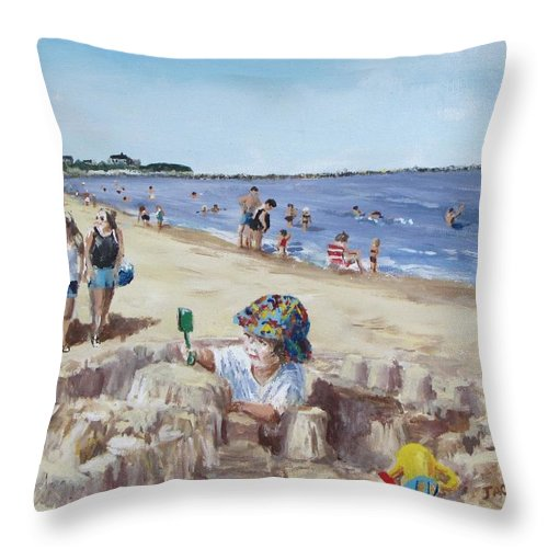 Beach Throw Pillow featuring the painting From Sandcastles To College by Jack Skinner