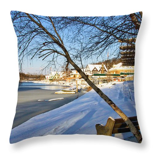 Boathouse Row Throw Pillow featuring the photograph From The Bench by Alice Gipson