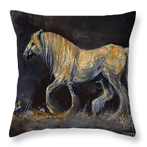 Shire Horse Throw Pillow featuring the painting From The Darkness by Angel Ciesniarska