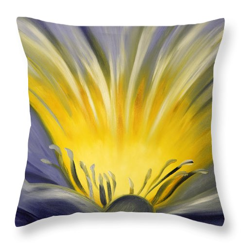 Blue Throw Pillow featuring the painting From The Heart Of A Flower Blue by Gina De Gorna