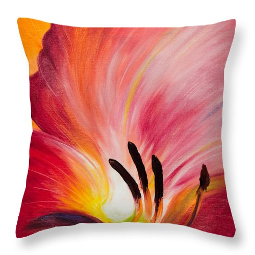 Red Throw Pillow featuring the painting From The Heart Of A Flower Red I by Gina De Gorna