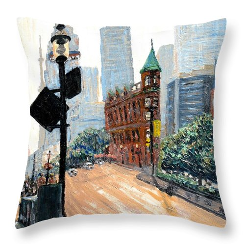 Toronto Throw Pillow featuring the painting Front And Church by Ian MacDonald