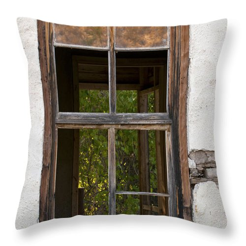Big Bend Ranch State Park Parks Window Frame Frames Windows View Views Throw Pillow featuring the photograph Front And Rear Views by Bob Phillips