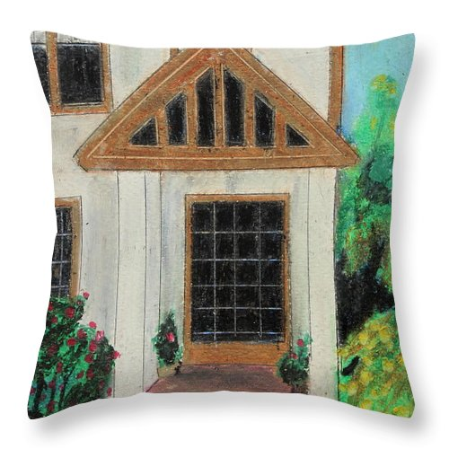 House Throw Pillow featuring the painting Front Door 1 by Jeanne Fischer