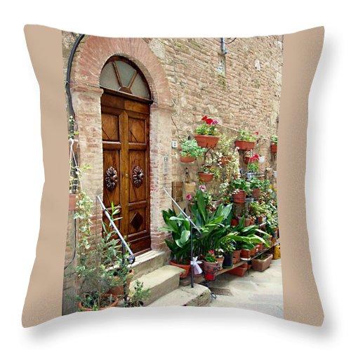 Front Door Throw Pillow featuring the photograph Front Door by Ellen Henneke